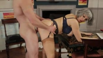 Brunette cutie banged by nasty pawn dude